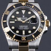 Rolex Submariner Date Золото/Cталь 41mm Черный Без цифр