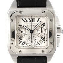 Cartier Santos 100 pre-owned 41mm Silver Chronograph Date Crocodile skin