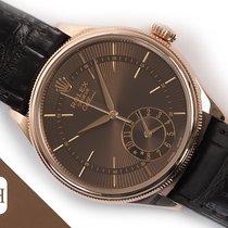Rolex Cellini Dual Time Oro rosa 39mm Marrón Sin cifras