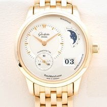 Glashütte Original PanoMaticLunar pre-owned 39mm Silver Moon phase Date Yellow gold
