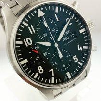 IWC Pilot Chronograph Stal 43mm Czarny Arabskie