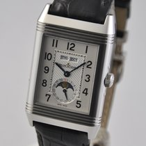 Jaeger-LeCoultre Grande Reverso Calendar pre-owned 48.5mmmm Silver Moon phase Weekday Month Crocodile skin