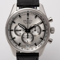 Zenith El Primero 36'000 VpH pre-owned 42mm Silver Chronograph Date Tachymeter Leather
