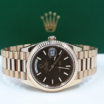 Rolex Day-Date 40 Rosa guld 40mm Brun Romertal