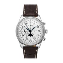 Longines Master Collection pre-owned 42mm Silver Moon phase Chronograph Date Month GMT Crocodile skin