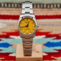 Rolex Oyster Perpetual 36 Stahl 36mm Gelb Keine Ziffern Schweiz, Genève et Paris