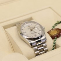 Rolex Day-Date 36 brugt 36mm Sølv Dato Viser for ugedage Platin