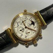 IWC Da Vinci Perpetual Calendar gebraucht 41,5mm Weiß Mondphase Chronograph Doppelchronograph Datum Wochentagsanzeige Monatsanzeige Jahresanzeige Ewiger Kalender Krokodilleder