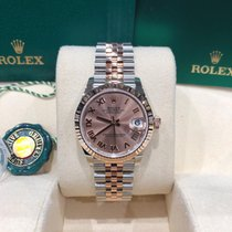 Rolex Datejust Золото/Cталь 31mm Розовый Римские