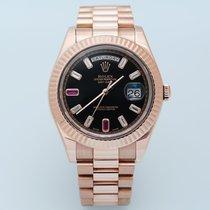 Rolex Day-Date II Oro rosa Negro Sin cifras