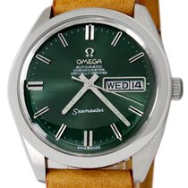 Omega Seamaster pre-owned 36mm Green Date Weekday Leather