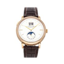 A. Lange & Söhne Saxonia pre-owned 40mm Silver Moon phase Date Crocodile skin