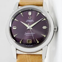 Omega Seamaster pre-owned 34mm Purple Date Leather