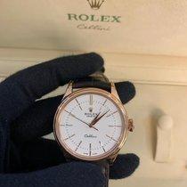 Rolex Cellini Time Roséguld 39mm Vit Inga siffror