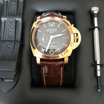 Panerai Luminor 1950 8 Days GMT Rose gold 44mm Brown Arabic numerals