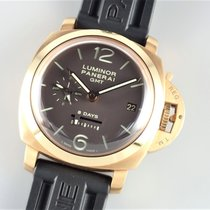 Panerai Rose gold Manual winding Brown 44mm pre-owned Luminor 1950 8 Days GMT