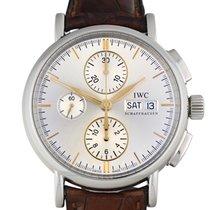 IWC Portofino Chronograph pre-owned 41mm Silver Chronograph Date Weekday Crocodile skin