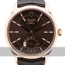 Rolex Cellini Dual Time begagnad 39mm Brun Läder