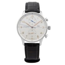 IWC Portuguese Automatic pre-owned 41mm Silver Chronograph Leather