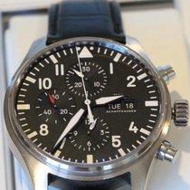 IWC Fliegeruhr Chronograph Stahl 43mm Schwarz Arabisch Schweiz, Neuheim