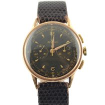 Lemania Rose gold Manual winding Black 34mm pre-owned
