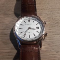Frederique Constant Classics Index pre-owned 42mm Silver Date GMT Leather