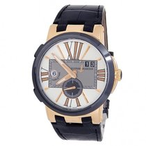 Ulysse Nardin Rose gold Automatic Silver 43mm pre-owned Executive Dual Time