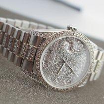 Rolex Day-Date 36 brugt 36mm Sølv Dato Viser for ugedage Hvidguld