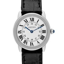 Cartier Steel Quartz Silver Roman numerals 29mm pre-owned Ronde Solo de Cartier