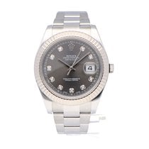 Rolex White gold Automatic Green No numerals 41mm pre-owned Datejust II