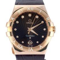 Omega Pозовое золото Кварцевые Коричневый 35mm подержанные Constellation Quartz