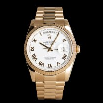 Rolex Red gold Automatic White 36mm pre-owned Day-Date 36