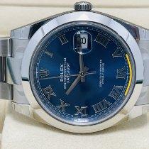 Rolex Datejust Stahl 41mm Blau Keine Ziffern