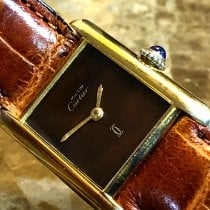 Cartier Silver Manual winding Brown 20.5mm pre-owned Tank (submodel)