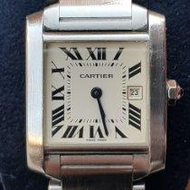 Cartier Tank Française Сталь 25mm Белый Римские