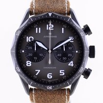 Junghans Meister Pilot pre-owned 43mm Black Chronograph Leather
