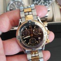 Philip Watch Sea Horse usados Negro Cronógrafo Fecha Acero y oro