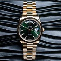 Rolex Day-Date 36 Gult guld 36mm Grøn