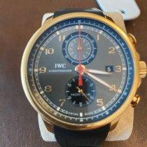 IWC Pозовое золото Автоподзавод Cерый Aрабские 45mm подержанные Portuguese Yacht Club Chronograph