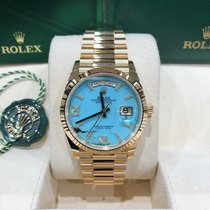 Rolex Day-Date 36 Or jaune 36mm Bleu Romains