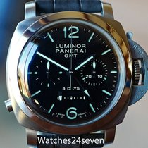 Panerai Acero Cuerda manual Negro usados Luminor 1950 8 Days Chrono Monopulsante GMT