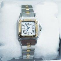 Cartier Santos Galbée Or/Acier 24mm Blanc