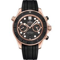 Omega Rose gold Automatic Black No numerals 44mm new Seamaster Diver 300 M