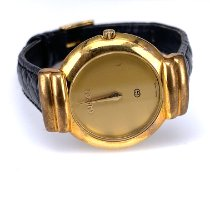Gucci Gold/Steel 30mm Quartz Vintage Gold Gucci Watch 5300 J Gold Dial Black Leather Band Wristwatch pre-owned United States of America, California, San Diego