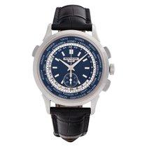 Patek Philippe World Time Chronograph Or blanc 40mm Bleu Sans chiffres