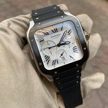 Cartier Santos (submodel) подержанные 43.3mm Cеребро Хронограф Дата Каучук