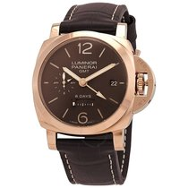 Panerai Red gold Manual winding Brown Arabic numerals 44mm new Luminor 1950 8 Days GMT