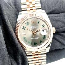 Rolex Datejust Zlato/Ocel 41mm Šedá Bez čísel