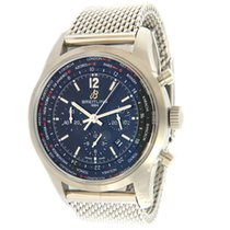 Breitling Transocean Chronograph Unitime pre-owned 46mm Black Chronograph Date GMT Steel