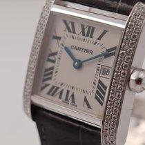 Cartier Tank Française gebraucht 25mm Weiß Datum Leder